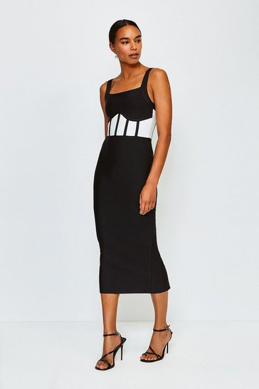 Black Bandage Knit Caged Dress