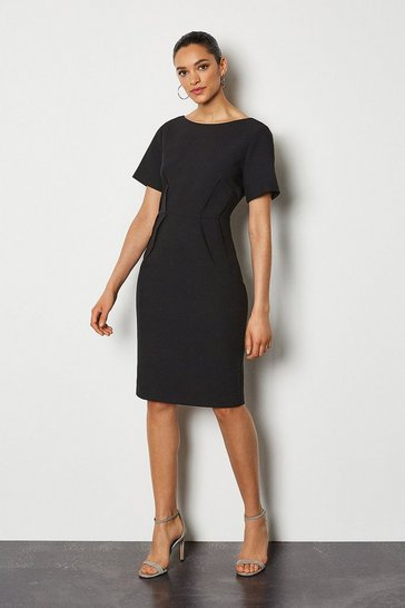 Black Short Sleeve Tailored Dress