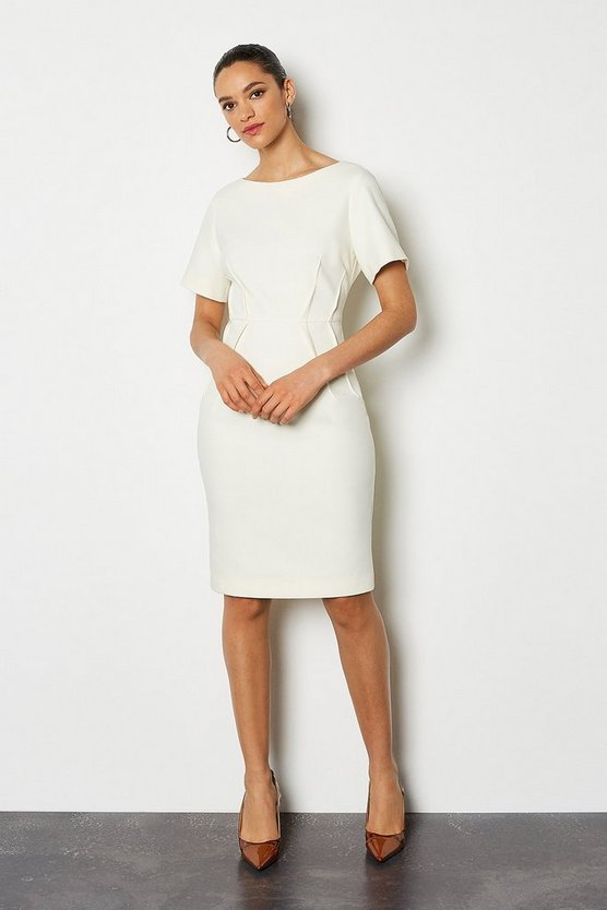 Ivory Short Sleeve Tailored Dress