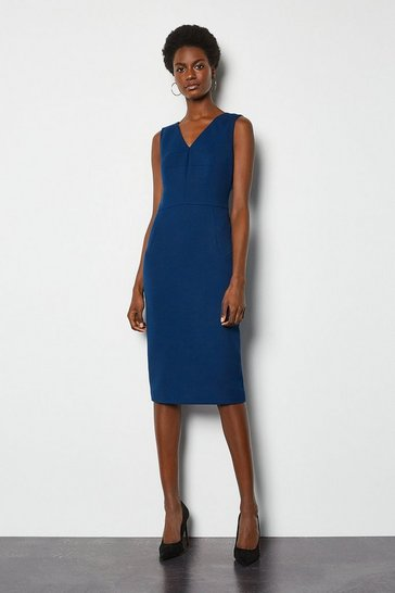 Cobalt Tailored V Neck Zip Detail Dress