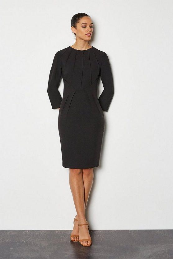 Black Pintuck Long Sleeve Tailored Dress