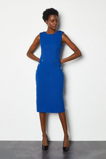 Blue Tailored Military Button Detail Dress