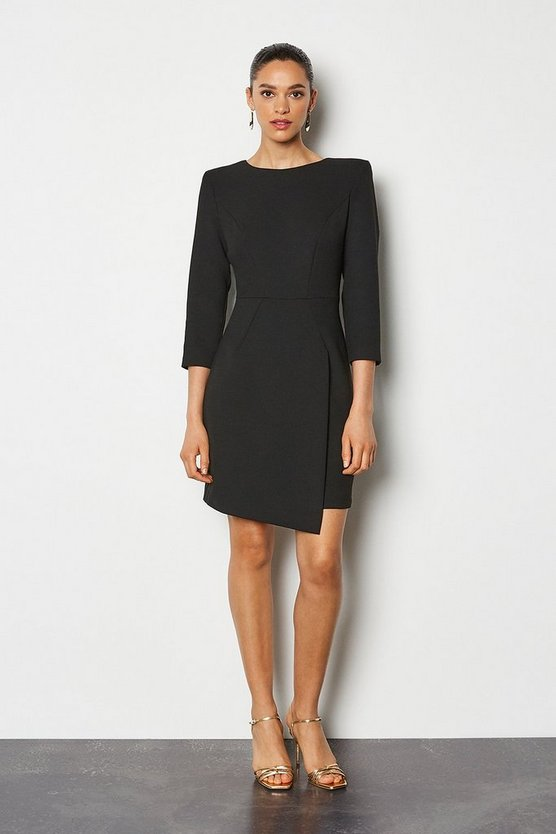 Black Strong Shoulder Zip Detail Dress