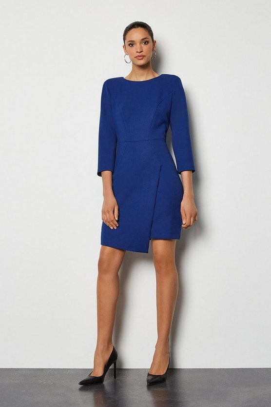 Cobalt Strong Shoulder Zip Detail Dress
