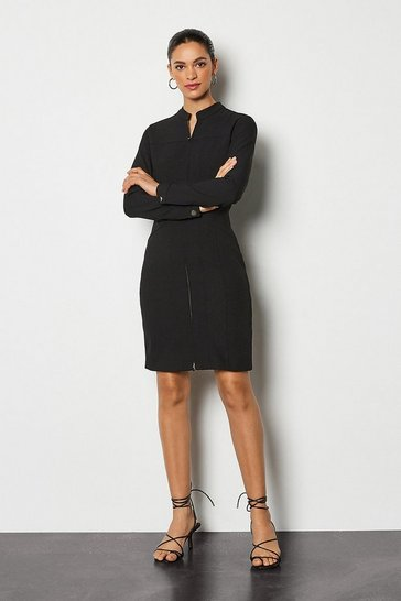 Black Tailored Track Dress