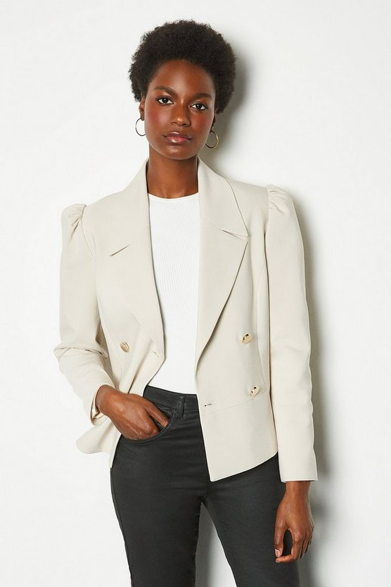 Stone Gathered Sleeve Tailored Jacket