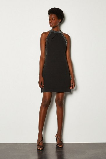 Black A Line Jewel Trim Dress