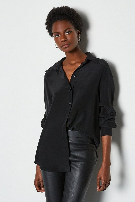 Black Silk Straight Fit Shirt