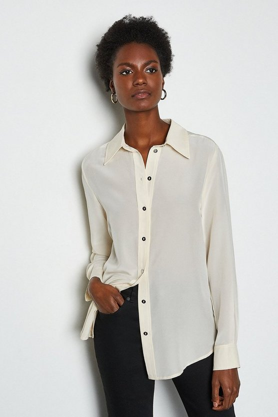 Ivory Silk Straight Fit Shirt
