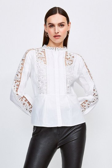 White Long Sleeve Cotton Cut Work Blouse