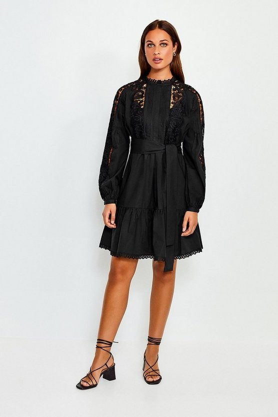 Black Cotton Cut Work Short Dress