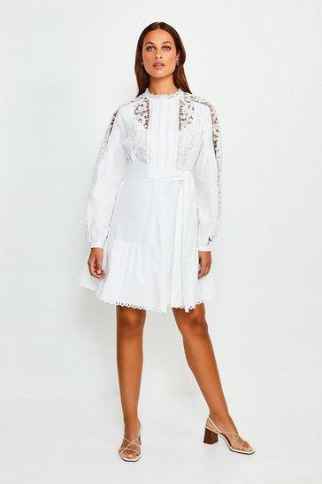 White Cotton Cut Work Short Dress