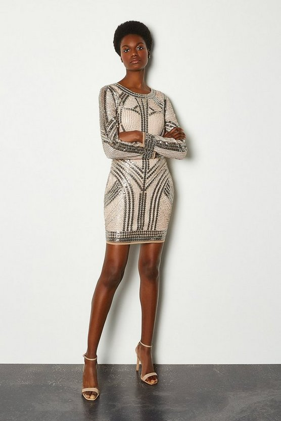 Nude Beaded Long Sleeve Bodycon Dress