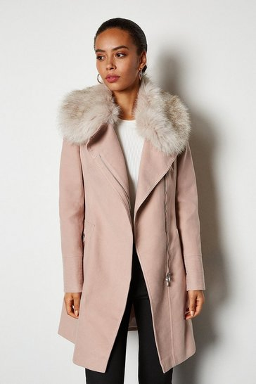 Blush Faux Fur Collar Moleskin Coat