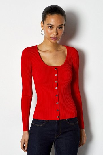 Fire red Rib Knit Scoop Neck Popper Jumper