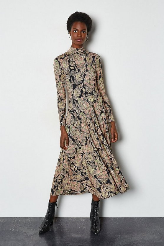 Multi Paisley Print Jersey Midi Dress