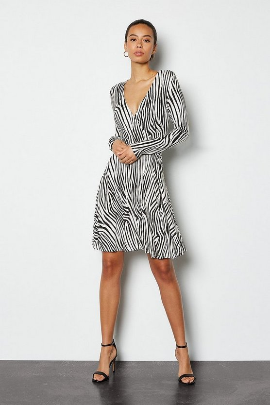 Zebra Wrap Front Jersey Midi Dress