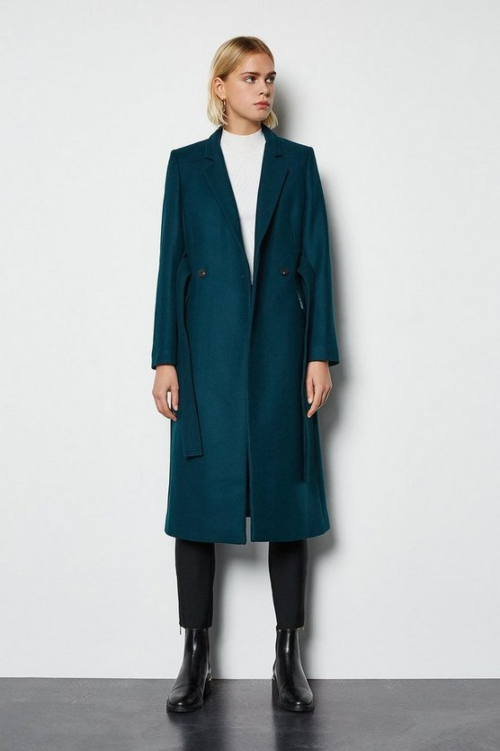 Teal Cashmere Blend Belted Coat