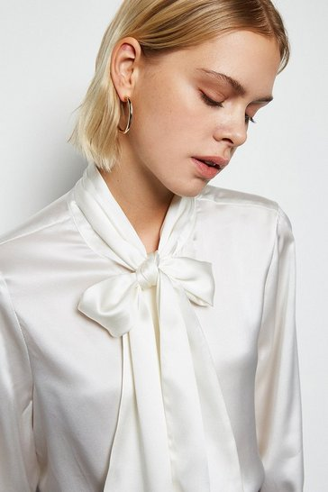 Ivory Bow Silk Blouse