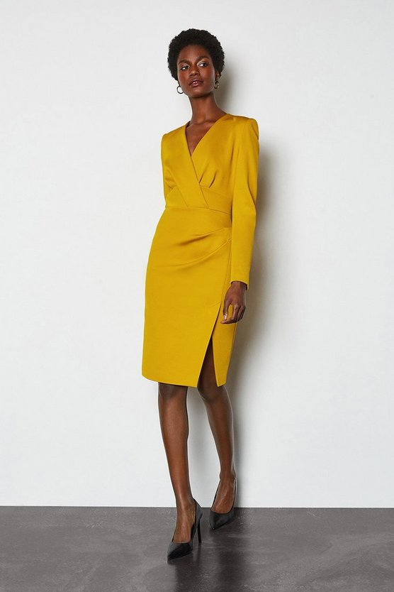 Mustard Long Sleeve Tuck Detail Dress