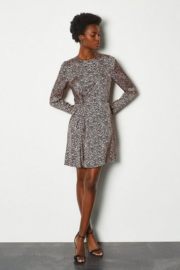 Multi Printed Ruched Long Sleeve Dress