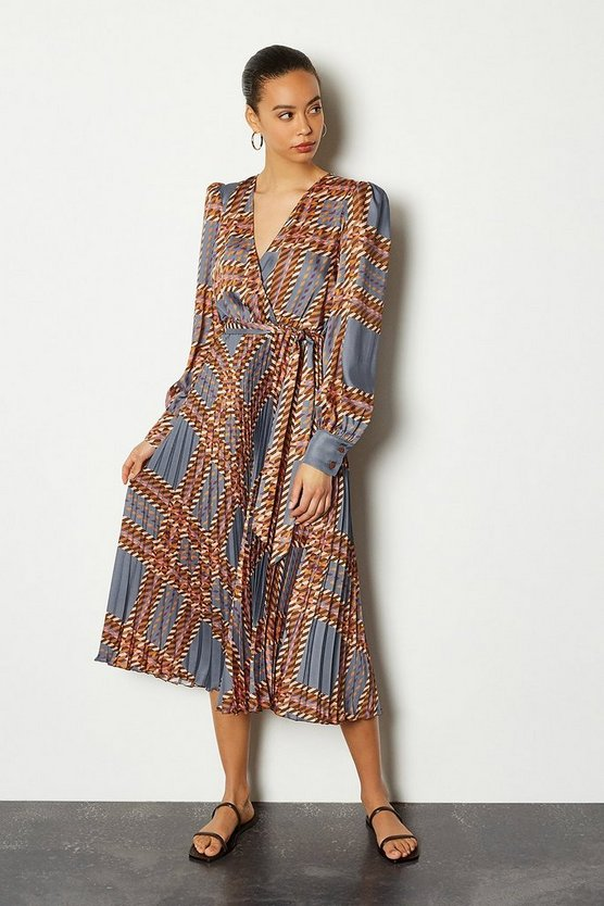 Blue 70s Check Pleat Midi Dress