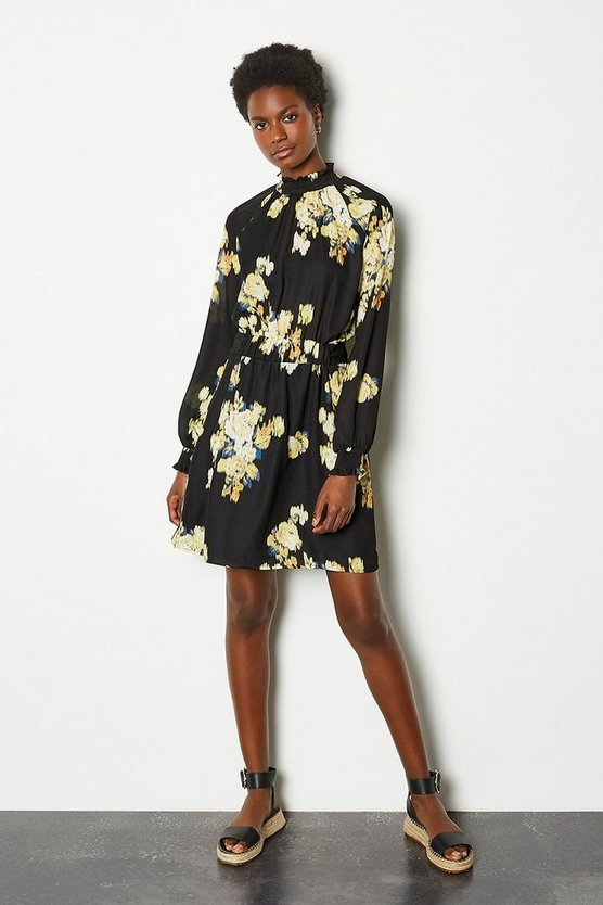 Black Large Blurred Floral Long Sleeve Skater Dress