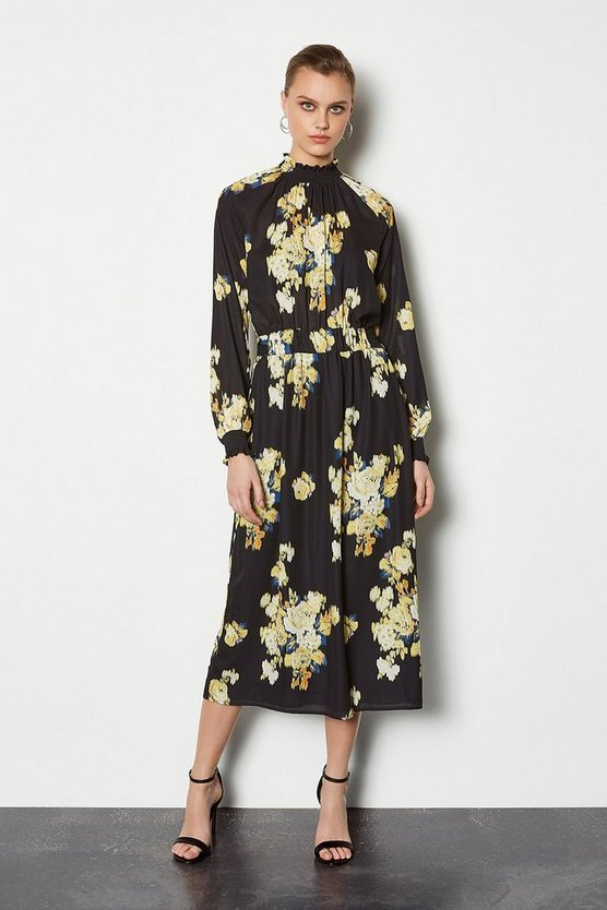 Black Blurred Floral Sleeved Midi Dress