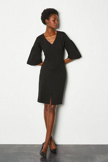 Black Puff Sleeve Ponte Shift Dress