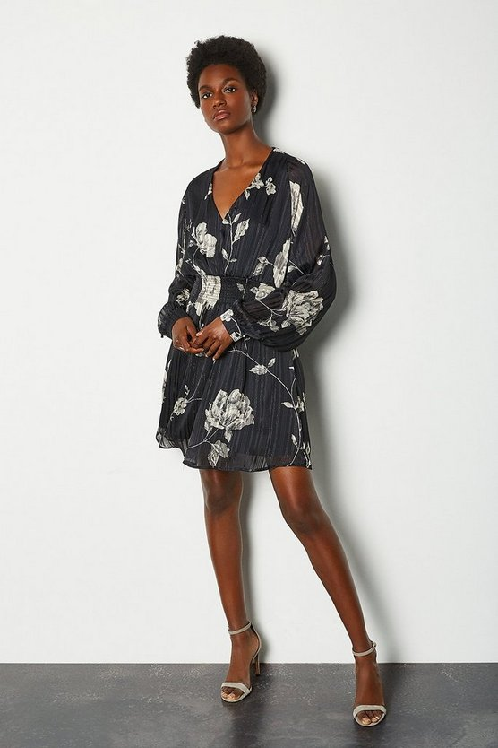 Black Sketch Floral Short Dress