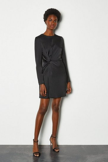 Black Ruche Side Long Sleeve Short Dress