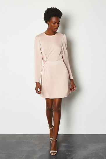 Blush Ruche Side Long Sleeve Short Dress