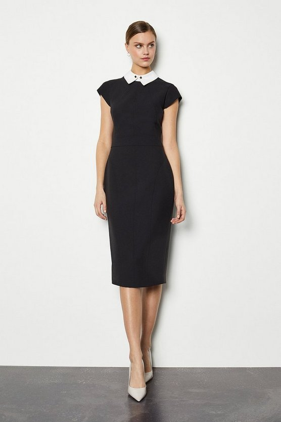 Black Seamed Collar Pencil Dress