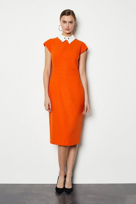 Orange Seamed Collar Pencil Dress