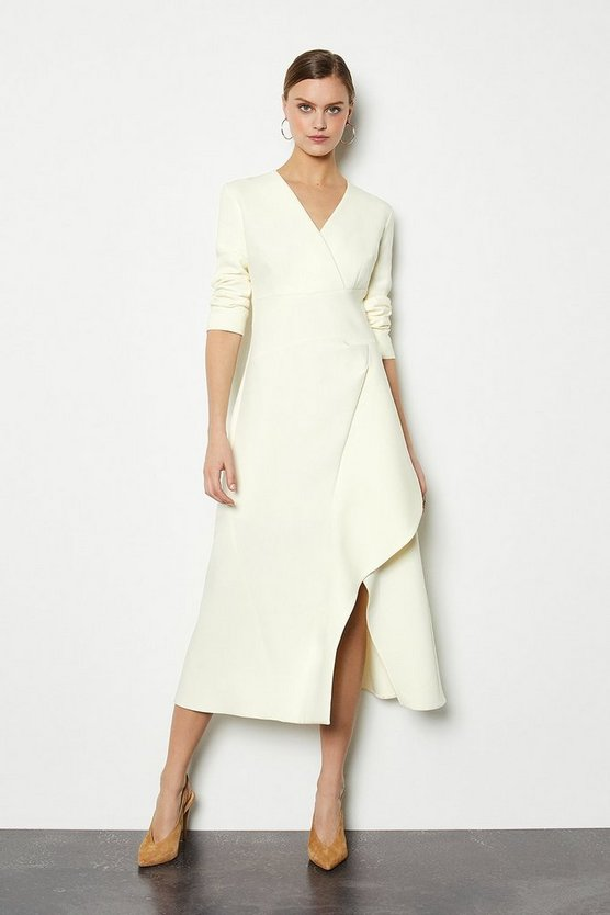 Ivory Long Sleeve Waterfall Tailored Dress