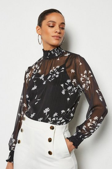 Black Shadow Print Long Sleeve Blouse