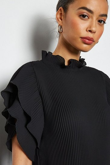 Black Pleat Frill Sleeve Top
