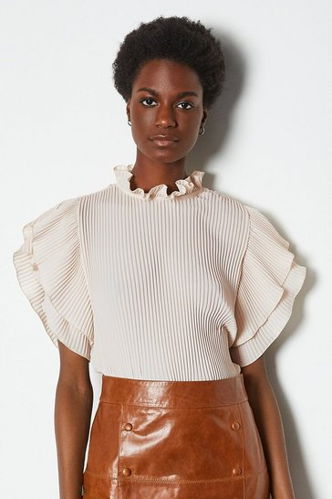 Ivory Pleat Frill Sleeve Top