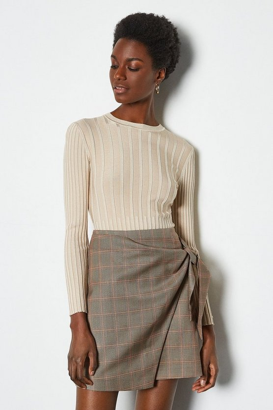 Multi Tailored Check Wrap Mini Skirt