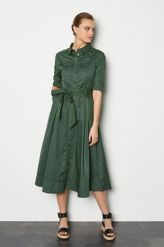 Khaki Cotton Utility Shirt Dress