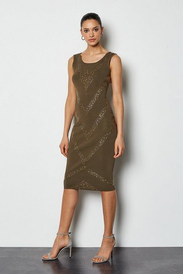 Khaki Embellished Chevron Bandage Knit Dress