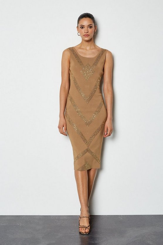 Stone Embellished Bandage Knit Dress