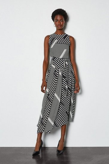 Multi Mixed Spot Asymmetric Dress
