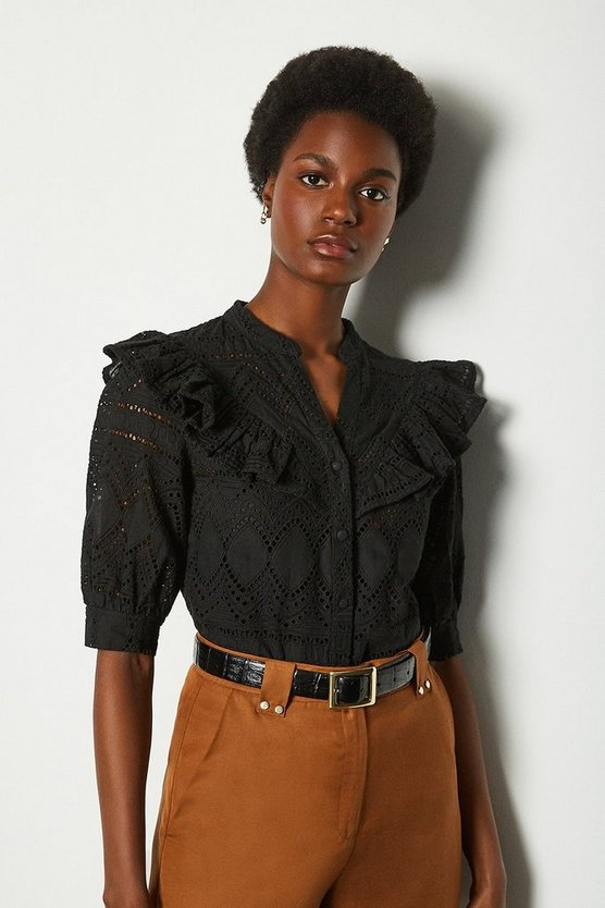 Black Broderie Short Sleeved Blouse