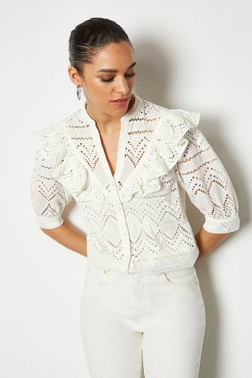 White Broderie Short Sleeved Blouse