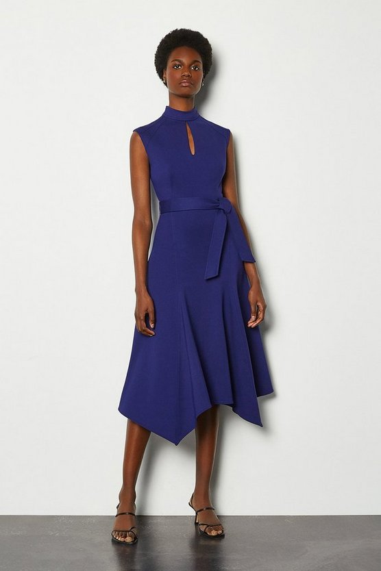 Blue Cap Sleeve Tie Waist Midi Dress