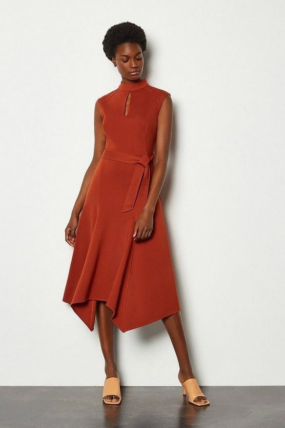 Terracotta Cap Sleeve Tie Waist Midi Dress