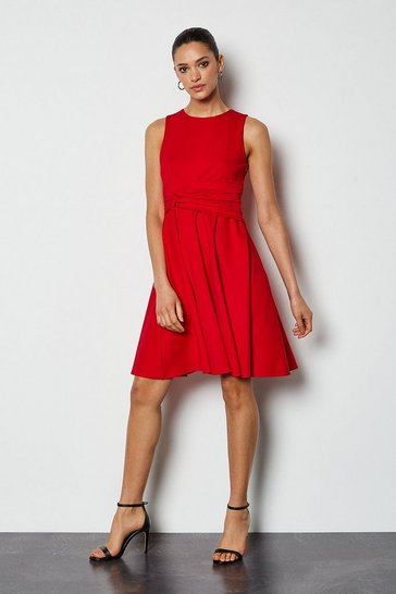 Red Woven Sleeveless Gathered Long Dress