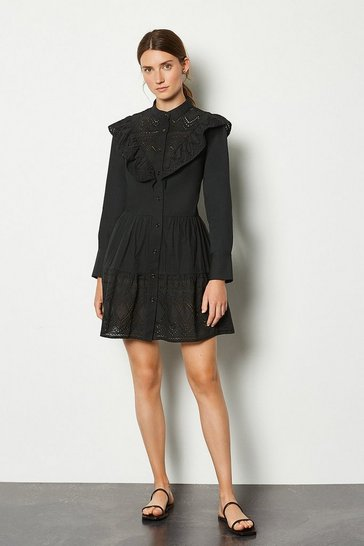 Black Broderie Button Up Dress