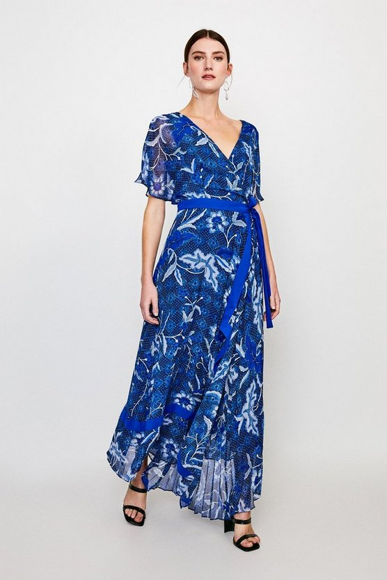 Blue Printed Wrap Midi Dress